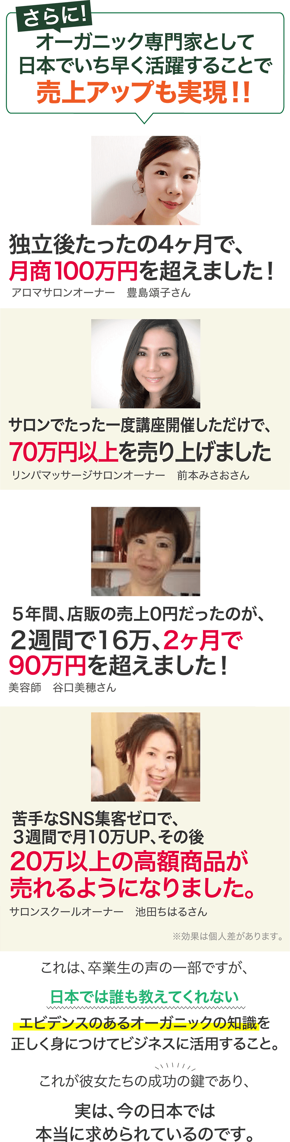 お客様の声2 オーガニック専門家として日本でいち早く活躍することで売上アップも実現!!