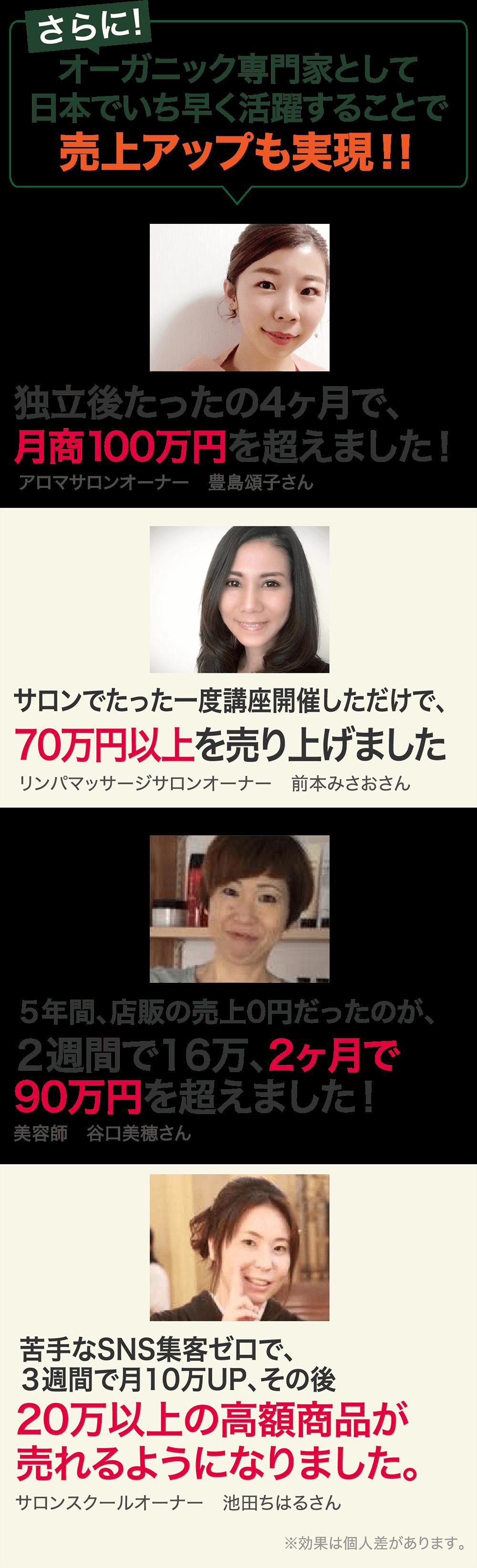 さらに!オーガニック専門家として日本でいち早く活躍することで売上アップも実現!!